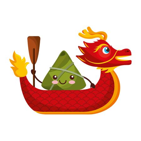 Ilustración de red dragon rice dumpling paddling festival chinese vector illustration - Imagen libre de derechos