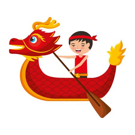 Ilustración de red dragon man rowing festival chinese chinese traditional vector illustration - Imagen libre de derechos
