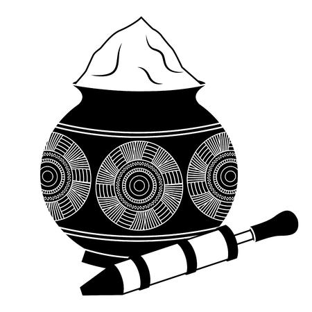 Ilustración de powder color mud pot and for celebration vector illustration black and white design - Imagen libre de derechos