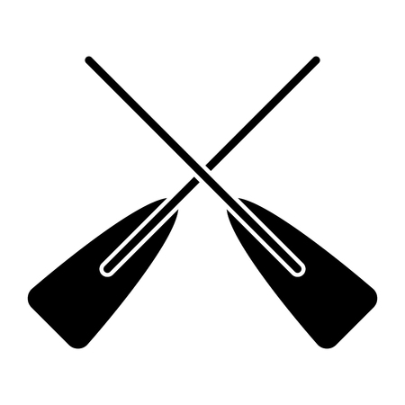 Ilustración de two wooden crossed boat oars sport vector illustration black and white design - Imagen libre de derechos