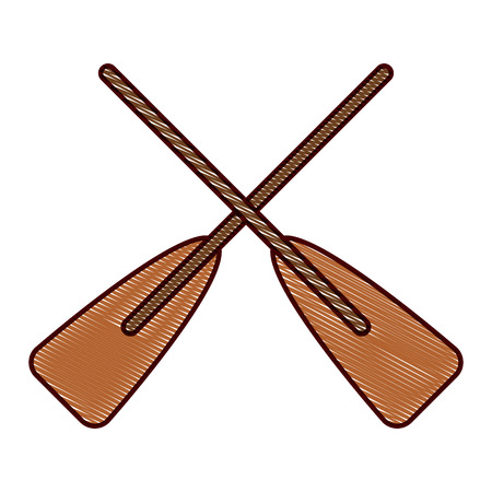 Ilustración de two wooden crossed boat oars sport vector illustration drawing design - Imagen libre de derechos
