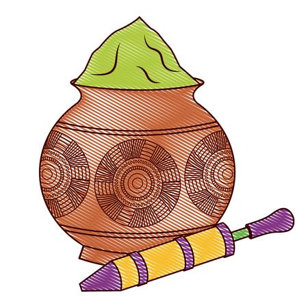 Ilustración de Powder color mud pot and for celebration vector illustration drawing design - Imagen libre de derechos