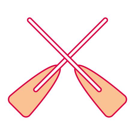 Ilustración de two wooden crossed boat oars sport vector illustration - Imagen libre de derechos