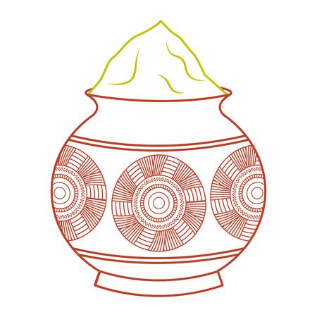Ilustración de powder color mud pot and mandala vector illustration line color design - Imagen libre de derechos