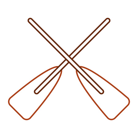 Ilustración de two wooden crossed boat oars sport vector illustration line color design - Imagen libre de derechos