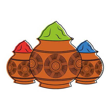 Ilustración de three powder color mud pot and mandala vector illustration - Imagen libre de derechos