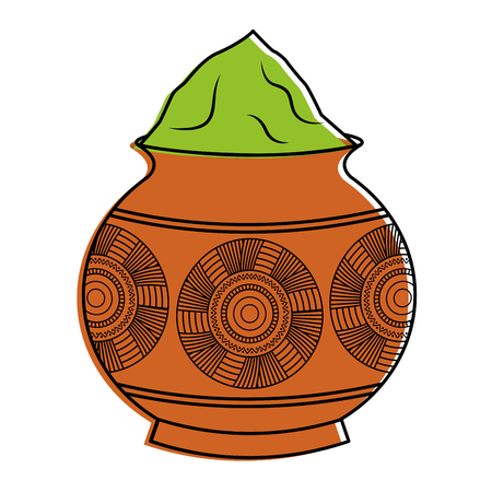 Ilustración de powder color mud pot and mandala vector illustration - Imagen libre de derechos