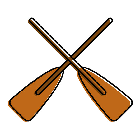 Ilustración de two wooden crossed boat oars sport vector illustration - Imagen libre de derechos