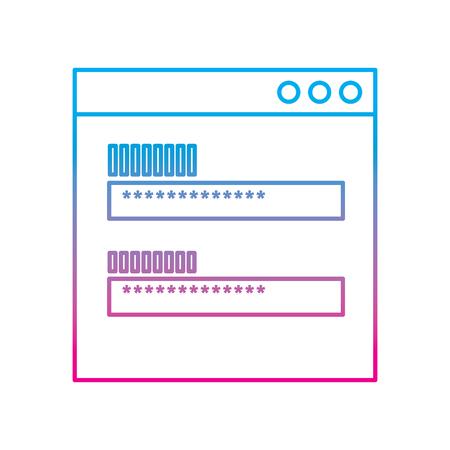 Ilustración de password access security icon protection of user data vector illustration degraded line color image - Imagen libre de derechos