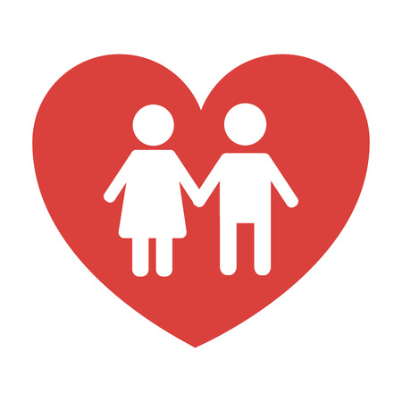 Ilustración de couple holds hand inside heart medical concept vector illustration - Imagen libre de derechos