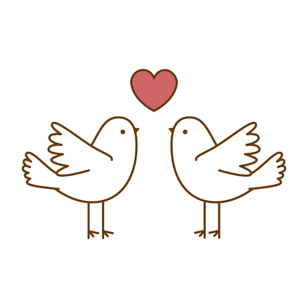 Illustration for Couple doves flying with heart vector illustration design - Royalty Free Image