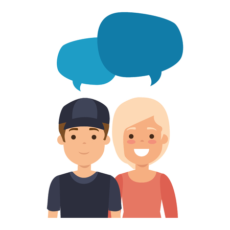 Ilustración de Lovers couple with speech bubbles avatars characters vector illustration design - Imagen libre de derechos