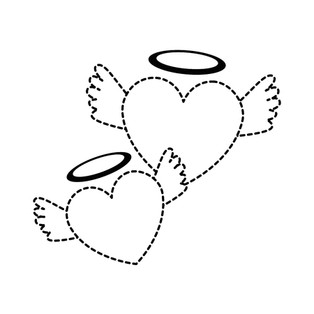 Ilustración de hearts love with wings and halo vector illustration design - Imagen libre de derechos