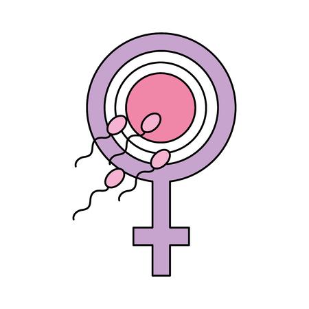Illustrazione per Fertilizing sperm with female symbol vector illustration design - Immagini Royalty Free