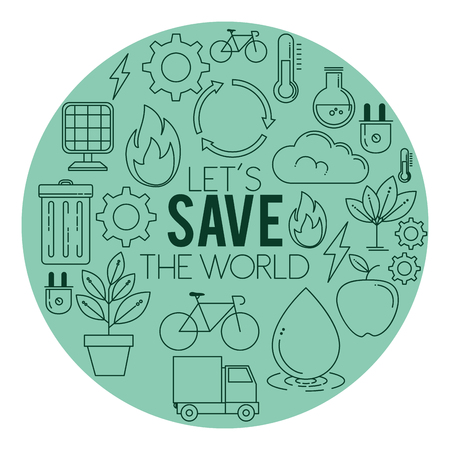 Ilustración de ECO energy go green environmental and ecology background vector illustration graphic design - Imagen libre de derechos