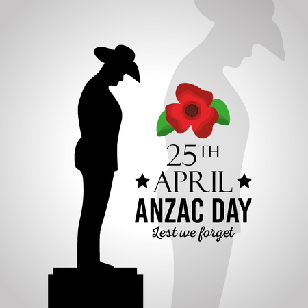 Illustration for Anzac day lest we forget vector illustration - Royalty Free Image