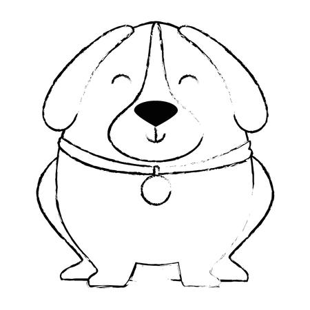 Illustration pour cute dog with necklace vector illustration design - image libre de droit