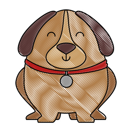 Illustration pour Cute dog with necklace vector illustration design. - image libre de droit