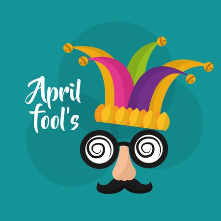 Illustration pour April fools mask mustache silly glasses and hat vector illustration - image libre de droit