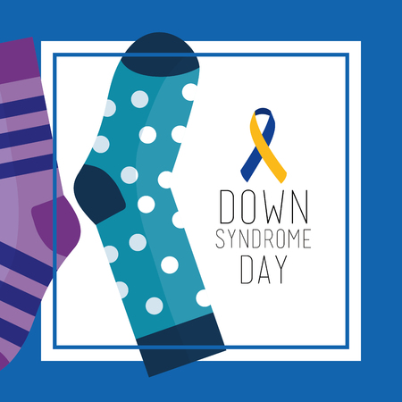 Ilustración de Down syndrome day greeting card dotted and striped socks vector illustration - Imagen libre de derechos
