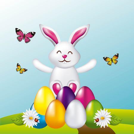 Ilustración de beauty rabbit easter eggs butterflies in field vector illustration - Imagen libre de derechos