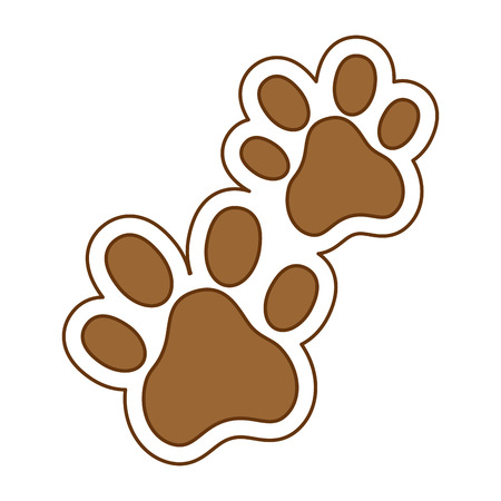 Ilustración de Dogs footprints isolated icon vector illustration design. - Imagen libre de derechos