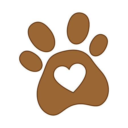 Ilustración de Dog footprint with heart vector illustration design. - Imagen libre de derechos