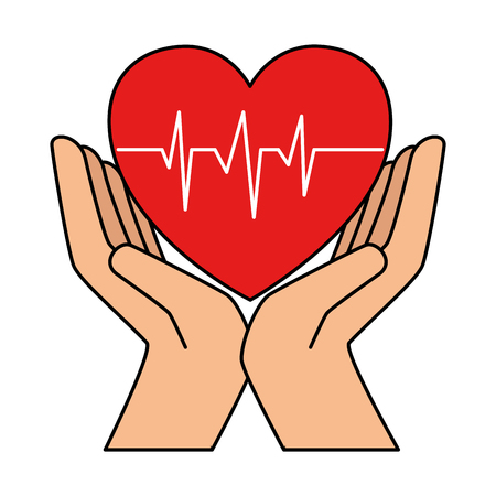 Illustration pour hands with heart cardio isolated icon vector illustration design - image libre de droit