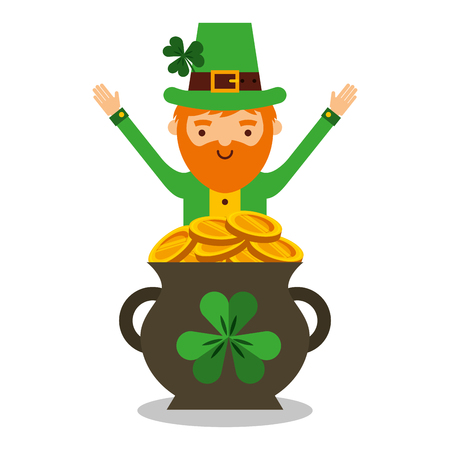 Illustration pour Cartoon leprechaun with pot of golden coins icon. - image libre de droit