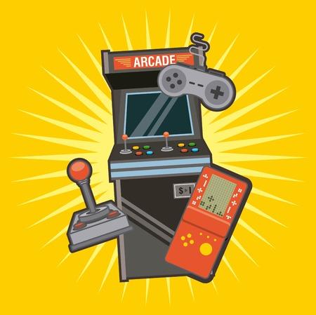 Illustration pour Classic videogames and console entertainment icons vector illustration - image libre de droit