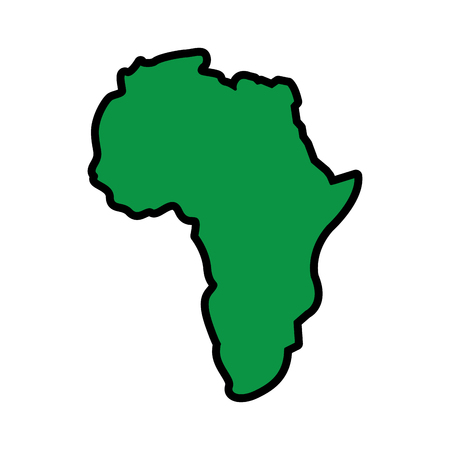Illustration pour map of africa continent silhouette on a white background vector illustration  green image - image libre de droit