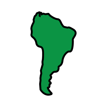 Illustration pour silhouette south america map continent geography vector illustration  green image - image libre de droit