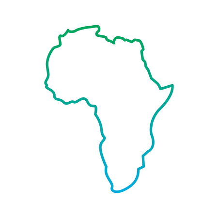 Illustration pour map of africa continent silhouette on a white background vector illustration  blue and green line degrade color - image libre de droit