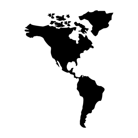 Illustration pour north and south america map continent vector illustration  pictogram design - image libre de droit