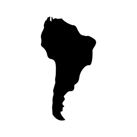 Illustration for silhouette south america map continent geography vector illustration  pictogram design - Royalty Free Image
