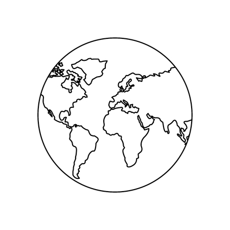 Illustration pour earth planet world globe map icon vector illustration outline design - image libre de droit