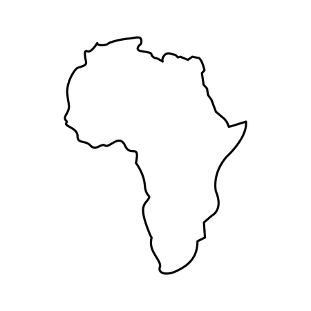 Illustration for map of africa continent silhouette on a white background vector illustration outline design - Royalty Free Image