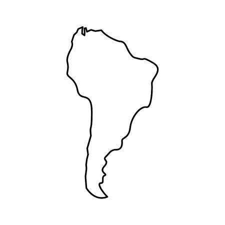 Illustration pour silhouette south america map continent geography vector illustration outline design - image libre de droit