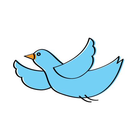 Ilustración de cute blue bird cartoon flying waving vector illustration - Imagen libre de derechos