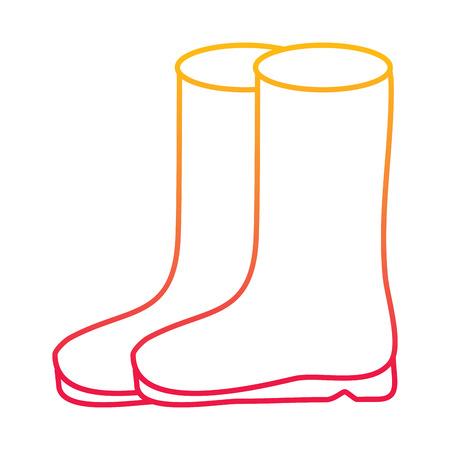 Ilustración de pair rubber boots clothes season fashion vector illustration degraded line color design - Imagen libre de derechos