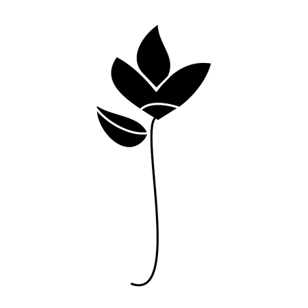 Ilustración de Flower natural botanical stem leaves icon vector illustration in black and white design. - Imagen libre de derechos