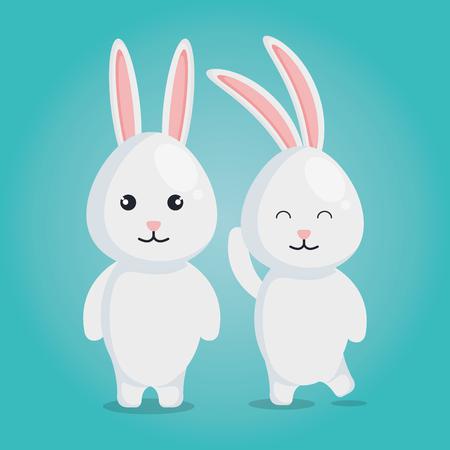 Ilustración de cute rabbits couple characters vector illustration design - Imagen libre de derechos