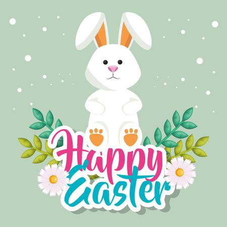 Illustration pour cute rabbit happy easter celebration vector illustration design - image libre de droit