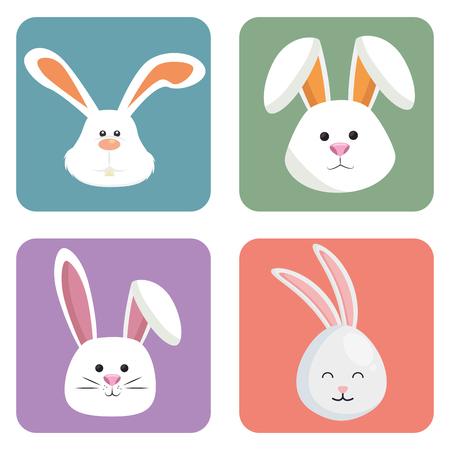 Illustration pour cute rabbits set heads icons vector illustration design - image libre de droit