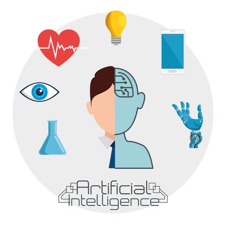 Illustration pour artificial inteligence technology set icons vector illustration design - image libre de droit