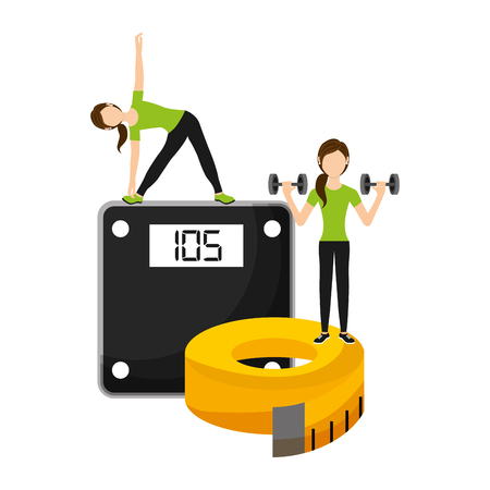 Ilustración de athletic women sport with weight scale and tape measuring vector illustration - Imagen libre de derechos