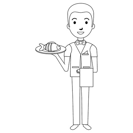 Illustration for elegant waiter with fish in tray vector illustration design - Royalty Free Image