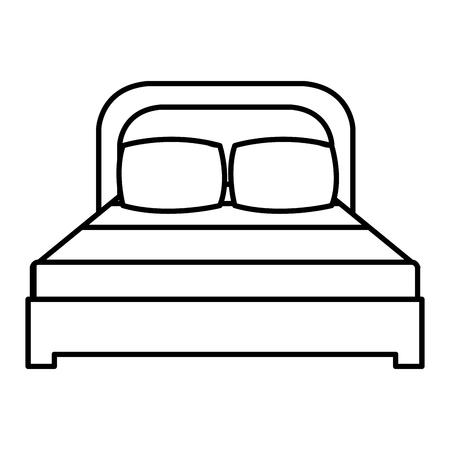 Illustration pour Comfortable bed with pillows linear vector illustration design - image libre de droit