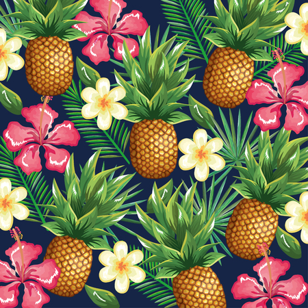 Illustration for tropical garden with pineapple vector illustration design fruits, leaves and flowers, summer and exotic concept - Royalty Free Image