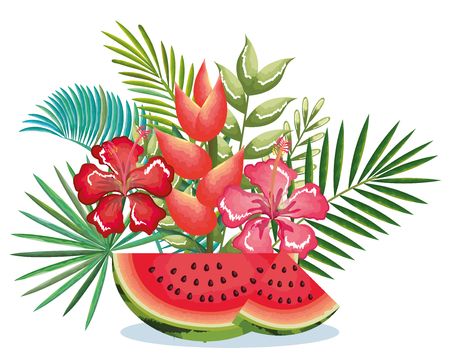 Illustration pour tropical garden with watermelon vector illustration design fruits, leaves and flowers, summer and exotic concept - image libre de droit